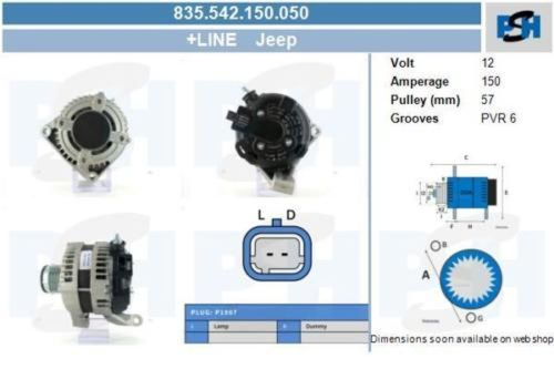 Lichtmaschine / Generator NEU & PFANDFREi 120 AMPJEEP GRAND CHEROKEE I (ZJ) 5.2