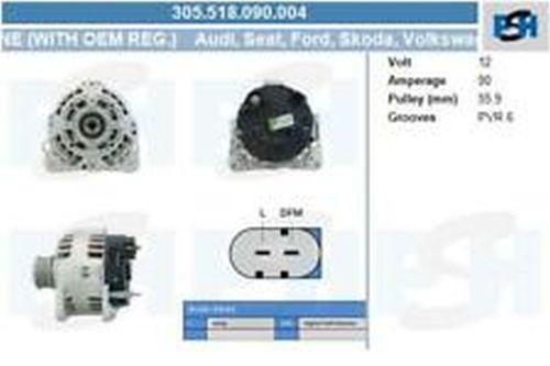Lichtmaschine / Generator Lichtmaschine 305.518.090.004 mit Original Valeo ReglerVW LT 28-46 II PRITSCHE/FAHRGESTELL (2DX0FE