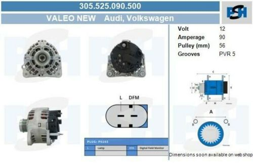 Lichtmaschine / Generator Valeo Generator 305.525.090.500VW LT 28-46 II PRITSCHE/FAHRGESTELL (2DX0FE